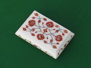 Marble Jewelry Box Inlay White Stone Handmade Arts & Crafts
