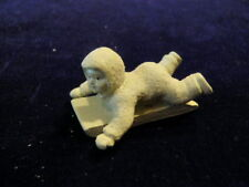 Dept 56 Snowbabies Miniatures Painted white Pewter Hold on Tight Sledding  A7
