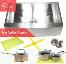 "Ariel 36"" Stainless Steel Single Bowl 16GCurve Apron Kitchen Farm Sink Combo"