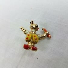 Pin back brooch Rabbit Conductor Carrot Stick 3/4 inch tall
