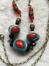 Necklace - Multi colored Tribal porcelain beads with crackle glass other accents