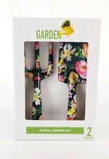 Floral Garden Kit 2 piece Set Shovel & Rake Metal Black New