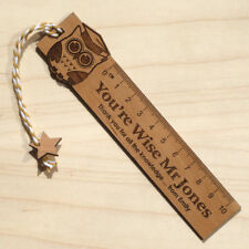 Personalised Teacher Gift Solid Oak Ruler Bookmark End Of Term Thank You Present