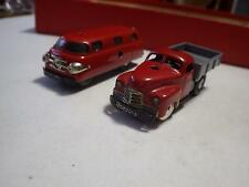 Schuco Varianto (Germany) Red Bus Sani & Truck Lasto Set Tinplate/Wind-Up 1:40