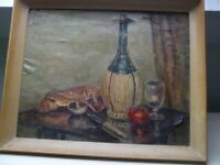 20TH CENTURY OIL ON CANVAS STILL LIFE IN GREEN BOTALE SIGNED ON BACK OF CANVAS
