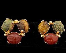 Vintage Burt Cassell Gold Filled Semi-Precious Stones Scarab Earrings