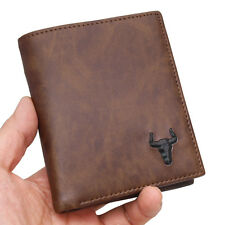 Vintage Mens Wallet Credit Card Purse Zipper Pocket ID Photo Holder Brown