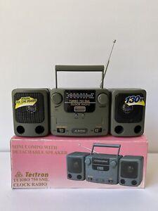 VINTAGE RARE Portable Mini Boombox AM/FM Clock Radio Detachable Speakers NEW