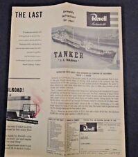 "REVELL U.S. TANKER ""J.L.HANNA""  PLASTIC MODEL INSTRUCTION SHEET ©1956"