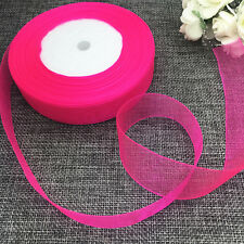 5 yards 2inch 50mm width Satin Edge Sheer Organza Ribbon Hair Bow Craft rose Red