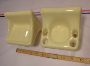 Glossy Bright Yellow; Sink Set… Ceramic Soap Dish...Cup & Toothbrush Holder  NEW
