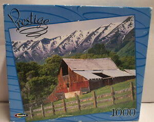 RoseArt Prestige 1000 piece Jigsaw Puzzle Snowy Mountain Scene - Complete