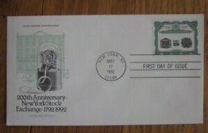 NYSE NEW YORK STOCK EXCHANGE 200TH ANNIVERSARY 1992 ARTMASTER CACHET FDC UNADDR