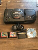 Sega Genesis Sega CD Vintage Game Console With 4 Games Sonic & Disc & Controller