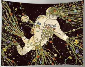 """NEW 60"""" x 40"""" Astronaut Busting Out With  Flowers In Space Tapestry Wall Decor"""