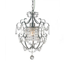 Gorgeous ZARA Pewter Grey Crystal Chandelier Wrought Iron Provincial Style 1 Arm