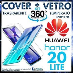 COVER TRASPARENTE + PELLICOLA VETRO TEMPERATO Per HUAWEI HONOR 20 LITE CUSTODIA