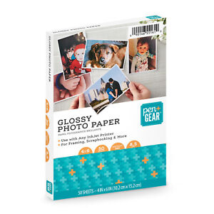 """Pen+Gear GLOSSY PHOTO PAPER 4"""" x 6"""" 50 SHEETS 8.5mil for INKJET PRINTERS 10x15"""