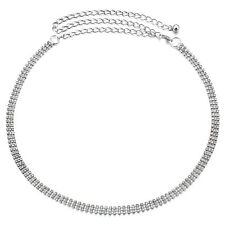 3 Row strass diamante Donna Vita catena pendente Cintura in argento-unica Taglia