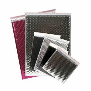 Metallic Bubble Lined Mailing Envelope Bags Foil Gloss Pink Black Silver