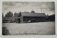 Cresco Pa Mail Train Stopping at Railroad Station 1909 to Bethlehem Postcard N5