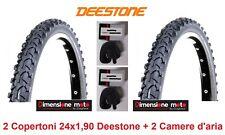 """2 Copertoni Nero Tassellati 24x1,90 Deestone + 2 Camere per Bici 24"""" Freestyle"""