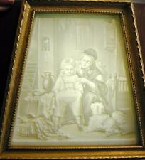 Vintage German Lithophane Shadow Box Mantle Lamp Night Light Woman Boy Dog