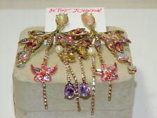 NWT Huge Betsey Johnson Pink Rhinestone Chandelier Earrings Dragonfly 12L 76