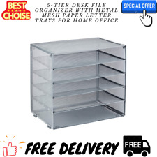5 Tier Desk File Organizer With Metal Mesh Paper Letter Trays For Home Office