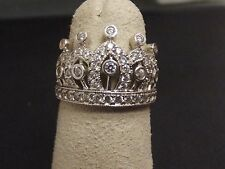 Crown Ring 14K White Gold & CZs Size 7
