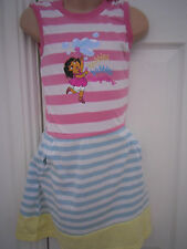 NUOVO-Dora the Explorer, età 5-6, abito a righe con cappuccio PASTELLO
