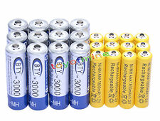 12 AA BTY 3000mAh + 12 AAA Yel 1800mAh NiMH Rechargeable Battery RC MP3 Clock