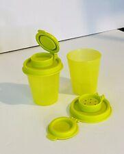 TUPPERWARE Salt and Pepper Shakers Spice Small Midgets Mini Chartreuse Green Set