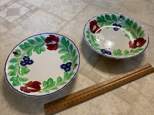 Late 19th /Early 20th Century Pair of Adams Stick Spatterware Soup Bowl c 1900