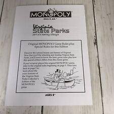 Monopoly Game Replacement Virginia State Parks Direction Pamphlet