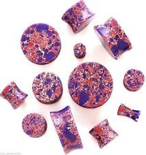 "PAIR-Stone Agate Pink/Purple Saddle Flare Ear Plugs 20mm/13/16"" Gauge Body Jewel"
