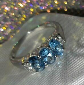 925 Sterling Silver Blue & White Topaz Ring, UK Ring Size N