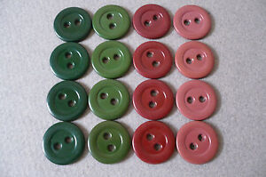 20 Vintage Casein Buttons (4 colours to choose from) New Old Stock.  16mms diam
