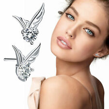 Women Angel Wing Earrings 925 Sterling Silver Crystal Butterfly Studs Ear Stud