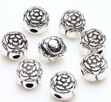 25pcs Tibetan Silver Flower Ball Charm Spacer Bead Bracelet Jewelry Finding 6mm