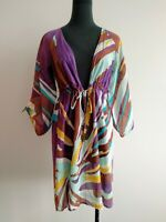 Diane von furstenberg Purple Blue Brown Cotton Tunic Top Blouse size P AU 8 10