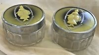 Vintage Vanity Jars Art Deco Glass w Metal Lids set of 2