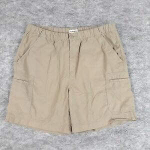 Magellan Cargo Shorts XL Mens Tan Khaki Cotton Elastic Waist Flat Front Fishing