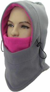 Balaclava Fleece Ski Bike Face Mask for Women Soft Warm Winter Hat Gray and Pink