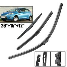 "Front Rear Windshield Wiper Blades Set For Ford Fiesta MK6 2008-2016 26""15""12"""