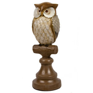 Brown Owl on a Stand Figurine,Table Decor,Living Room,Library,Home Office,10 in