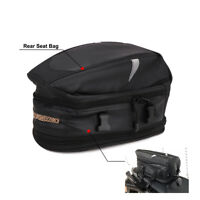 Waterproof Motorcycle Rear Tail Back Seat Bag Helmet Luggage Package Carry Black