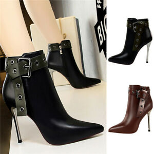Women New Ladies Office Strap Buckle Ankle Boots Sexy Stiletto High Heel Shoes