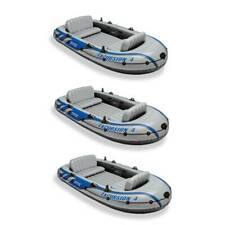 Intex Excursion Inflatable Rafting Fishing 4 Person Boat w/ Oars & Pump (3 Pack)
