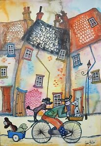 Original Naive Street Scene By Claire Shotter. Houses. Dogs. Bike. Street